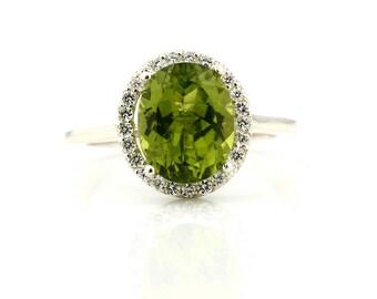 Natural Green Peridot  Solid 14K White Gold Diamond engagement  Halo Ring - Gem849