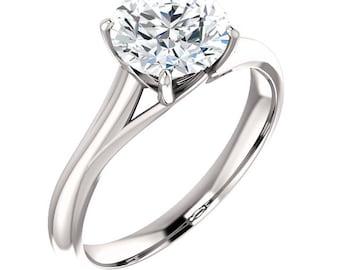 7.5mm Forever One Moissanite 14K White Gold Engagement Ring - ST233158R-999