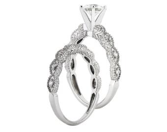1 carat 6.5mm Round Forever Brilliant Moissanite Solid 14K White Gold Diamond Engagement  Ring - ens4141