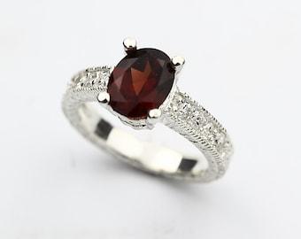 Natural 8x6mm Red Garnet  Solid 14K White Gold Diamond Ring