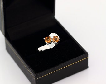 Natural Yellow Citrine Solid 14K White Gold Ring