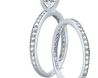 1 carat 6.5mm Round Forever One (GHI) Moissanite Solid 14K White Gold 4 Prong  Engagement  Ring set - ENS4111