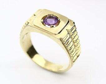 Natura purple Amethyst Solid 14K Yellow Gold Men's  Ring