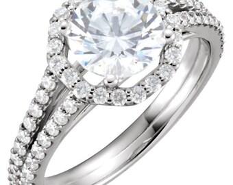 Forever One (GHI) Moissanite Diamond Halo Engagement  Ring In 14K White Gold  -ST232992