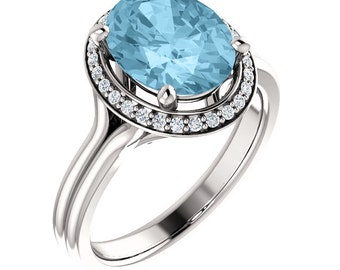 10X8MM Oval  Natural Aquamarine  2.20 cts Solid 14K White Gold Diamond Engagement Ring - ST82767