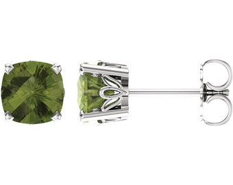 Pair 6mm 2CT Cushion Natural Peridot /Sky Blue Topaz/Onyx/Smoky Quartz / Scroll Stud Earring In White Gold ST39201*Special *