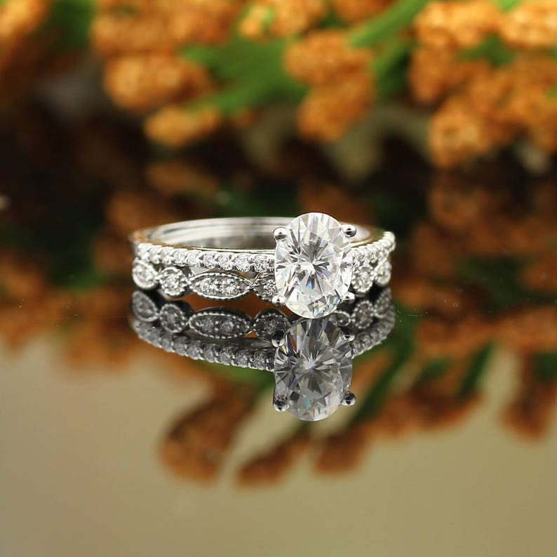 Certified Forever One Moissanite Colorless Engagement Ring image 0