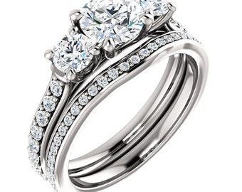 Forever One (GHI) Moissanite Solid 14K White Gold Diamond Halo Engagement  Ring set   - ST233213