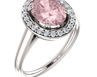 Natural AAA 10x8 mm Oval  Morganite  Solid 14K White Gold Diamond halo Engagement Ring Set-ST233316