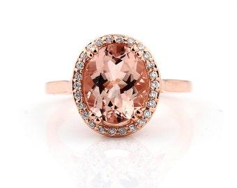 Natural AAA 10x8mm Pink Morganite  Solid 14K Rose Gold Diamond engagement  Halo Ring - Gem829