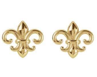 14K Yellow Feur-de-Lis Earrings ---Ready To Ship