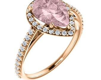 Natural AAA 10x7mm pear Cut Morganite  Solid 14K Rose Gold Diamond Halo Engagement Ring Set ,  Bridal Ring Set  ST233195