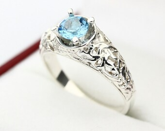 5mm Natural swiss Blue  Topaz Solid 14K White Gold Ring