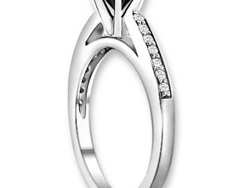 Natural  AAA 1.25 ct  Black & White  Diamond  Engagement Ring In 14K White / Yellow / Rose Gold ENS4172