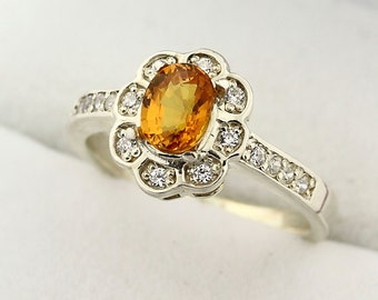 Natural AAA Yellow Sapphire Solid 14K White Gold Diamond Ring