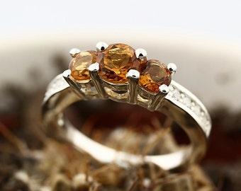 AAA Yellow Citrine Solid 14K White Gold Diamond Ring