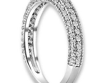 14K White / Yellow / Rose  Gold  Natural Round Diamond Wedding Band  Aniversary Ring ENS4143