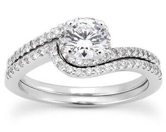 1 carat 6.5mm Round Forever One (GHI) Moissanite Solid 14K White Gold  Halo Twist Diamond Bridal Set  - ENS4196