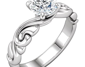 6.5mm  Round   Forever One (GHI) Moissanite Solid 14K White Gold Sculptural  Engagement Ring-ST232086