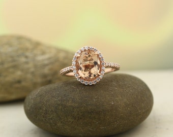 Natural AAA Morganite Ring Set, Diamond Halo Morganite Engagement Ring Set, 14k Roes gold, 10x8mm Oval gemstone - Gem1289