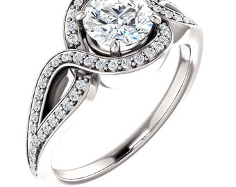 Certified center Natural White Sapphire Solid  14k white gold diamond Halo Engagement Ring ST233596