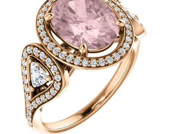 Natural AAA 10x8mm Oval  Morganite  Solid 14K Rose  Gold Diamond Engagement Ring Set-ST233583