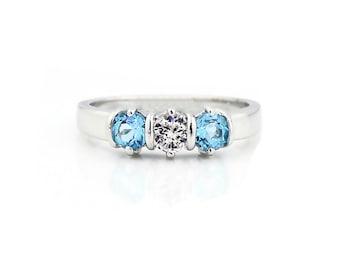 Three stones 4mm White Sapphire & Swiss Blue Topaz Solid  14k white gold Band Ring