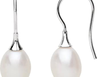 14K  White or Yellow Gold White FRESHWATER Cultured Pearl Earrings----PAIR (Perfectly matched pair of White FRESHWATER pearl studs)
