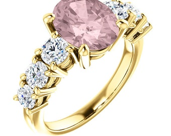 Natural AAA 10x8mm Oval  Solid 14K Yellow Gold White Sapphire  Engagement Ring Set Bridal Set ST82788