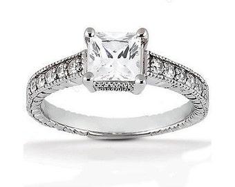 1.25 carat 6mm Princess Cut Forever One (GHI) Moissanite Diamond Vintage Engagement Ring ENR779