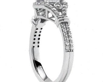 3/4ct 6mm Round Forever One (GHI) Moissanite 14k white Gold Diamond Engagement Ring ENR0427