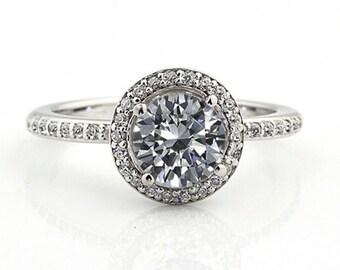 1.25 ct Forever One (GHI) Moissanite Solid 14K White Gold Diamond Engagement Ring - Gem828
