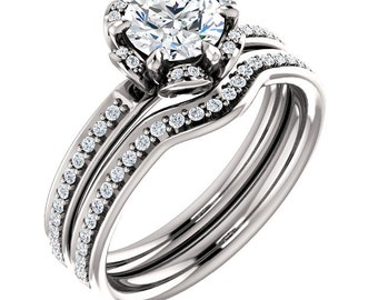 Certified center Natural White Sapphire Solid  14k white gold  Floral Inspired diamond Halo Engagement Ring Set ST232008