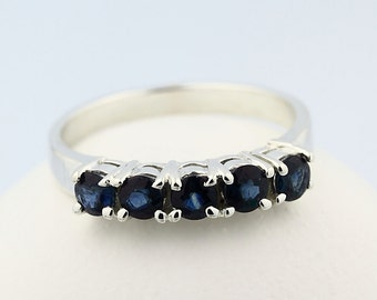 Natural Blue Sapphire  Solid 14K White Gold wedding band-Special Offer