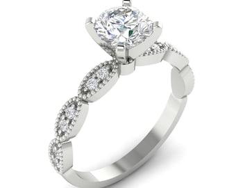 Round Blilliant Cut  Moissanite   14k White Gold Engagement Ring Set  ,Art Deco Vintage Engagement Ring  Set  -G924