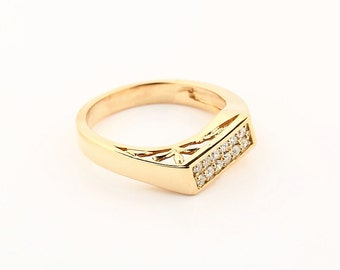 Natural diamond  Solid 14K Yellow  Gold Twisted wedding band Ring-Gem617
