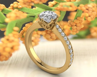 Solid 14K Gold Round Moissanite (DEF) Engagement Ring ,Diamond Ring ,Moissanite wedding ring  Gift For Her