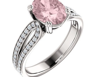 Natural AAA 10x8mm Oval  Morganite  Solid 14K white Gold Diamond Engagement Ring Set-ST233385