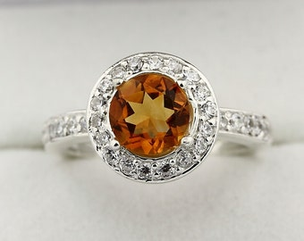Natural 7mm Yellow Citrine Solid 14K White Gold Diamond engagement  Ring