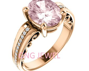 Natural AAA 10x8mm Oval  pink Oval Morganite  Solid 14K Rose  Gold Floral Style Diamond Engagement Ring Set-ST233500