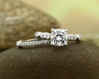 7mm cushion cut Forever Brilliant Moissanite 14K White Gold Engagement Ring set - ST233223