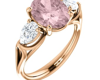 Natural AAA 10x8mm Oval Morganite Solid 14K Rose Gold 3 Stone White Sapphire Engagement Ring Set ST82848-1497