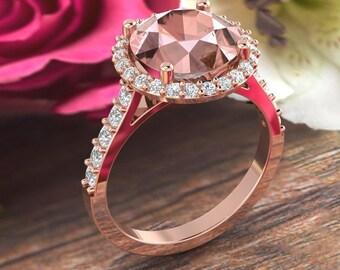 9mm Round Pink Morganite  14K Rose Gold Diamond engagement  Halo Ring set- Gem1621