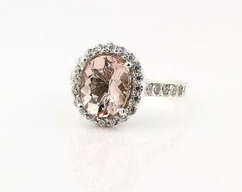 Natural Facet Cut Morganite  Solid 14K White Gold Diamond engagement Ring