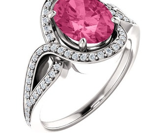 Natural AAA 9x7mm Oval Pink Tourmaline Solid 14K White Gold Diamond halo Engagement Ring Set-ST233596