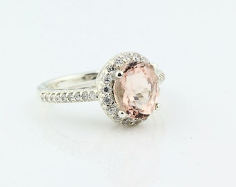 Natural Morganite Solid 14K White Gold Diamond engagement  Halo Ring-antique Style - Gem748