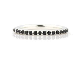 AAA Natural 1/4 ct  Black Diamond Wedding Band Ring 14k White Gold-Specail -  Gem338