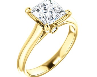 Certified  Forever One Moissanite Engagement Ring ,Square Cut Diamond Simulant Wedding Ring In Solid 14K Yellow  Gold
