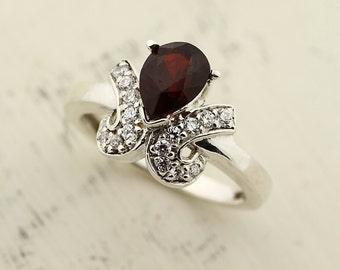 Natural Top Red SPESSARTITE GARNET Solid 14K White Gold Diamond Ring