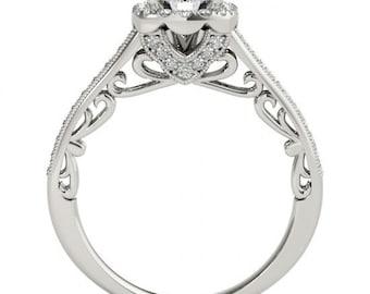 6mm Forever One Moissanite  14k white gold Antique halo  Style diamond Engagement Ring- OV61965 Gem983